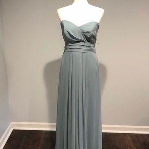 After Six slate blue long bridesmaid dress 8